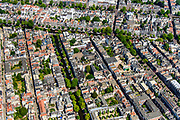 Nederland, Noord-Holland, Amsterdam, 29-06-2018; Grachtengordel en Jordaan, Prinsengracht (vlnr), Lauriergracht (met bomen) Elandsgracht. <br /> View of the old town, with belt of canals.<br /> luchtfoto (toeslag op standard tarieven);<br /> aerial photo (additional fee required);<br /> copyright foto/photo Siebe Swart