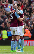 Alan Hutton and Mile Jedinak of Aston Villa celebrate after their victory.  EFL Skybet championship match, Aston Villa v Birmingham city at Villa Park in Birmingham, The Midlands on Sunday 23rd April 2017.<br /> pic by Bradley Collyer, Andrew Orchard sports photography.