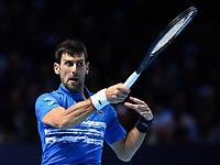 Tennis - 2019 Nitto ATP Finals at The O2 - Day Five<br /> <br /> Singles Group Bjorn Borg: Novak Djokovic (Serbia) vs. Roger Federer (Switzland)<br /> <br /> Novak Djokovic in action during his 2 set defeat to Roger Federer 6-4, 6-3<br /> <br /> COLORSPORT/ASHLEY WESTERN