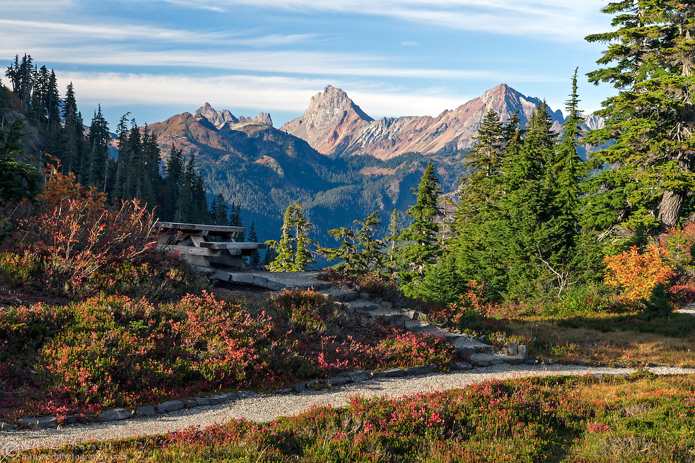 View of Canadian Border Peak, Tomyhoi Peak, American Border Peak and Mount Larrabee from Heather Meadows picnic area in the Mount Baker-Snoqualmie National Forest of Washington State, USA.