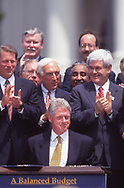 President William Clinton signs The Balanced Budget Act of 1997 on the South Lawn of the Whitee House, August 5 1997<br /> <br /> Photograph ny Dennis Brack. bb78
