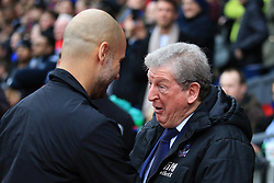 31 December 2017 -  Premier League - Crystal Palace v Manchester City - Roy Hodgson manager of Crystal Palace greets Pep Guardiola manager of Manchester City - Photo: Marc Atkins/Offside