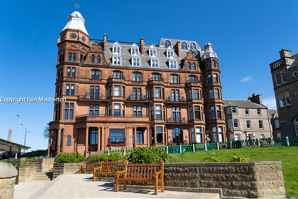 View of Hamilton Grand serviced apartment block with luxury residences  beside 18th green at St Andrews Old Course in St Andrews, Fife, Scotland, UK