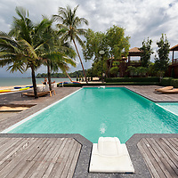 View on the pool of the Blue Sky Resort in Ranong.
