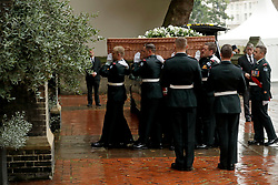 The coffin arriving at the funeral of Countess Mountbatten of Burma at St Paul's Church, Knightsbridge, London.