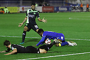 AFC Wimbledon striker Dominic Poleon (10) goes to ground during the The Emirates FA Cup 1st Round Replay match between AFC Wimbledon and Bury at the Cherry Red Records Stadium, Kingston, England on 15 November 2016. Photo by Stuart Butcher.