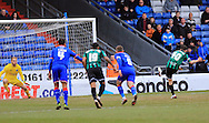Ian Henderson scores from the penalty spot 1-1 during the Sky Bet League 1 match between Oldham Athletic and Rochdale at Boundary Park, Oldham, England on 19 March 2016. Photo by Daniel Youngs.