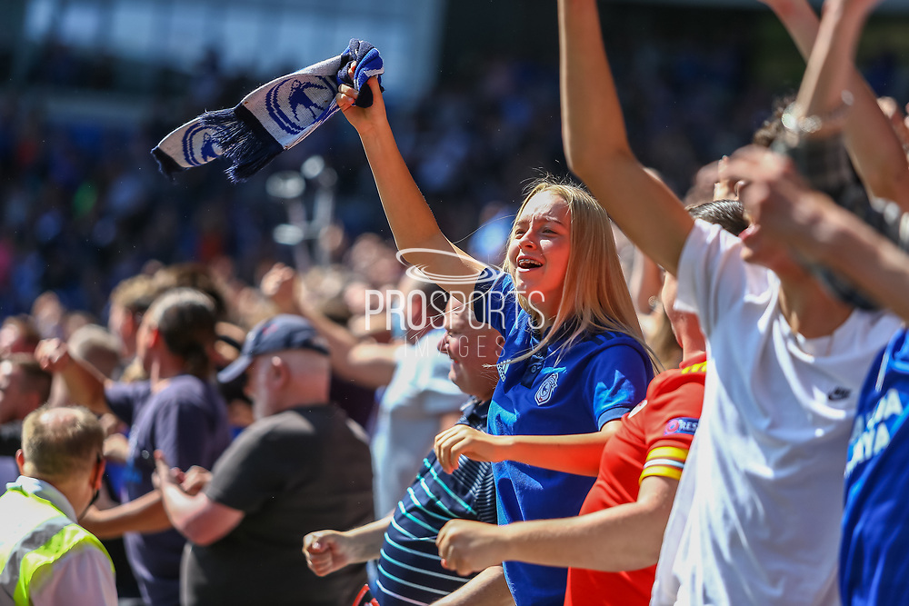 CELE Cardiff City fans celebrate their teams goal during the EFL Sky Bet Championship match between Cardiff City and Bristol City at the Cardiff City Stadium, Cardiff, Wales on 28 August 2021.