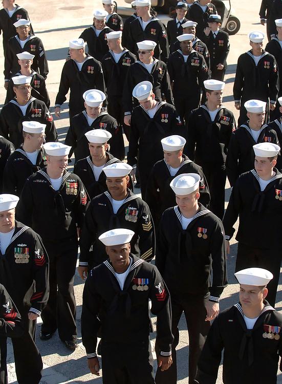 Ingleside, Texas January 14, 2006:  U.S. Navy sailors at the commissioning of the USS San Antonio (LPD-17) Amphibious Transport Dock ©Bob Daemmrich /