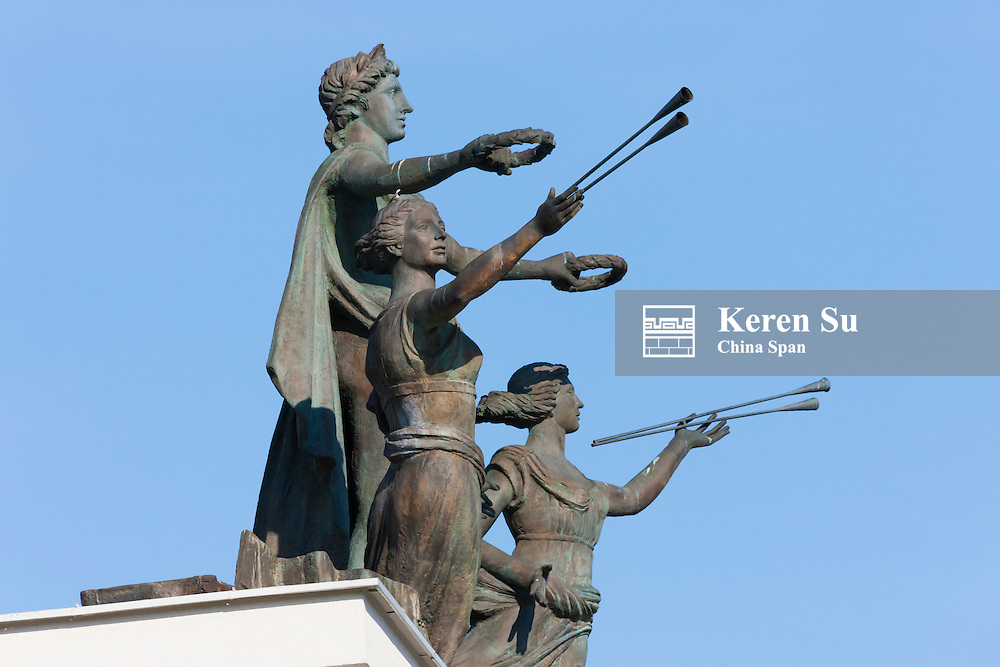 Statue of musicians in front of the Opera and Ballet Theater, Minsk, Belarus