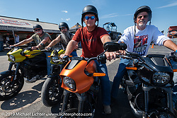 Scott Leaver, Dave Ockwig, Tony Mansell, Don Dybevik and Darrell Rexrode on a group test ride of the new Harley-Davidson Live Wire electric bike from the Harley-Davidson Garage at the Full Throttle Saloon during Sturgis Black Hills Motorcycle Rally. Sturgis, SD, USA. Tuesday, August 6, 2019. Photography ©2019 Michael Lichter.