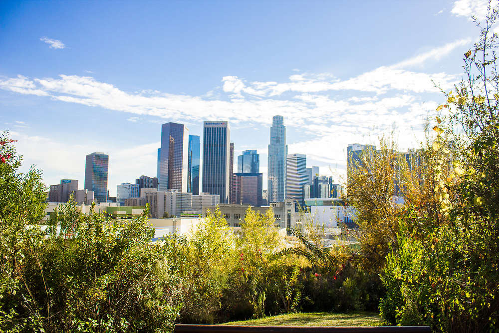 The Los Angeles skyline from the Vista Hermosa Natural Park on January 1, 2016.