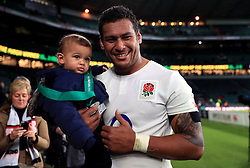 England's Nathan Hughes poses for a picture after the Autumn International match at Twickenham Stadium, London.
