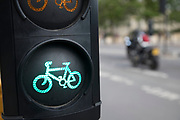 Cycle lane traffic lights in London, England, United Kingdom.