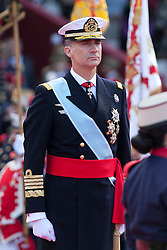 12.10.2015, Madrid, Madrid, ESP, Spanischer Nationalfeiertag, Royals, im Bild King Felipe VI of Spain // during the celebration of the Spanish National Day military parade in Madrid in Madrid, Spain on 2015/10/12. EXPA Pictures © 2015, PhotoCredit: EXPA/ Alterphotos/ Victor Blanco<br /> <br /> *****ATTENTION - OUT of ESP, SUI*****
