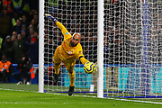 Goalkeeper Wilfredo Caballero of Chelsea looks on as the ball hits the post during the English Premier League match between Chelsea and Manchester United, Monday, Feb. 17, 2020, at Stamford Bridge, in London, United Kingdom. Manchester United defeated Chelsea 2-0.  (Mitchell Gunn/Image of Sport)