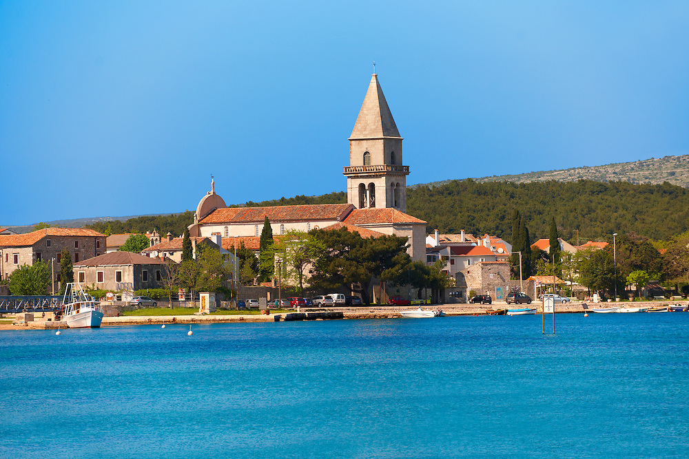 Campinale of the church of Osor Cres Island, Croatia .<br /> <br /> Visit our CROATIA HISTORIC SITES PHOTO COLLECTIONS for more photos to download or buy as wall art prints https://funkystock.photoshelter.com/gallery-collection/Pictures-Images-of-Croatia-Photos-of-Croatian-Historic-Landmark-Sites/C0000cY_V8uDo_ls