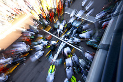 May 25, 2018 - Monte Carlo, Monaco - Motorsports: FIA Formula One World Championship 2018, Grand Prix of Monaco, ..Mechanic of Mercedes AMG Petronas Motorsport during pit stop training  (Credit Image: © Hoch Zwei via ZUMA Wire)