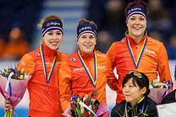 10-11-2017 NED: ISU World Cup, Heerenveen<br /> 500 m men, Netherlands I.  Wüst,  J.  ter Mors,  A.  de Jong