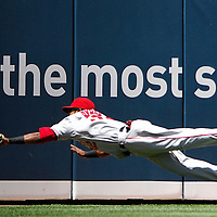 01 July 2007:  Los Angeles Angels left fielder Erick Aybar (32) dives and misses a catch on a line drive in the 2nd inning hit for a double by Baltimore Orioles first baseman Kevin Millar.  The Angels defeated the Orioles 4-3 at Camden Yards in Baltimore, MD.   ****For Editorial Use Only****