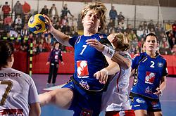 Marina Vergeliuk of Krim during 3rd Main Round of Women Champions League handball match between RK Krim Mercator, Ljubljana and Larvik HK, Norway on February 19, 2010 in Arena Kodeljevo, Ljubljana, Slovenia. Larvik defeated Krim 34-30. (Photo by Vid Ponikvar / Sportida)