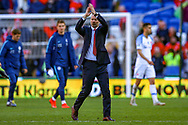 Wales Manager Ryan Giggs thanks at full time during the UEFA European 2020 Qualifier match between Wales and Slovakia at the Cardiff City Stadium, Cardiff, Wales on 24 March 2019.