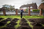 Mike, volunteer gardener at the L30 Big Local Netherton Community Garden project, Netherton, Liverpool. United Kingdom. (Photo © AndyAitchison.uk)