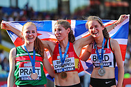Bronze medalist, Aimee Pratt, gold medalist, Rosie Clarke and silver medalist Elizabeth Bird pose after the Women's 3000m Steeplechase Final during the Muller British Athletics Championships at Alexander Stadium, Birmingham, United Kingdom on 24 August 2019.