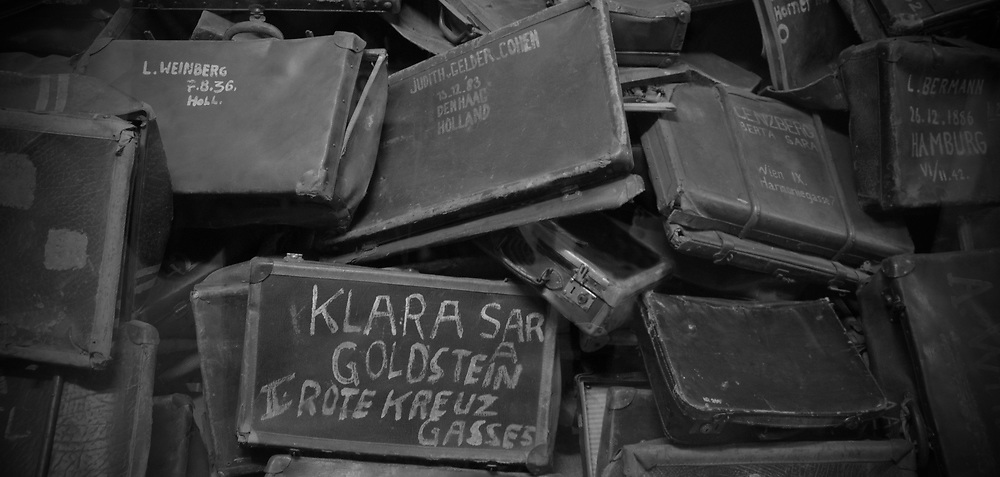 Suitcases of the dead inside the Auschwitz museum.