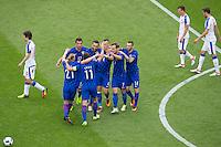 GOAL CELEBRATION - Croatia's Ivan Perisic celebrates scoring the opening goal with team-mates<br /> <br /> Photographer Craig Mercer/CameraSport<br /> <br /> International Football - 2016 UEFA European Championship - Group D, Czech Republic v Croatia - Stade Geoffroy Guichard, St Etienne - France <br /> <br /> World Copyright © 2016 CameraSport. All rights reserved. 43 Linden Ave. Countesthorpe. Leicester. England. LE8 5PG - Tel: +44 (0) 116 277 4147 - admin@camerasport.com - www.camerasport.com