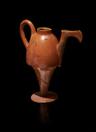 Terra cotta Hittite beaker shaped side spouted pitcher - 1700 BC to 1500BC - Kültepe Kanesh - Museum of Anatolian Civilisations, Ankara, Turkey. Against a black background .<br /> <br /> If you prefer to buy from our ALAMY STOCK LIBRARY page at https://www.alamy.com/portfolio/paul-williams-funkystock/hittite-art-antiquities.html  - Type Kultepe  into the LOWER SEARCH WITHIN GALLERY box. Refine search by adding background colour, place, museum etc<br /> <br /> Visit our HITTITE PHOTO COLLECTIONS for more photos to download or buy as wall art prints https://funkystock.photoshelter.com/gallery-collection/The-Hittites-Art-Artefacts-Antiquities-Historic-Sites-Pictures-Images-of/C0000NUBSMhSc3Oo