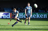 Leigh Halfpenny of the Cardiff Blues kicks a penalty. Heineken cup, pool 6 match, Cardiff Blues v Toulon at Cardiff Arms Park in Cardiff, South Wales on Sunday 21st October 2012. pic by Andrew Orchard, Andrew Orchard sports photography,