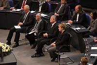 DEU, Deutschland, Germany, Berlin, 27.01.2016: Deutscher Bundestag, Gedenkveranstaltung für die Opfer des Nationalsozialismus, v.l.n.r. Bundesratspräsident Stanislaw Tillich (CDU), Prof. Dr. Ruth Klüger, Bundespräsident Joachim Gauck, Bundeskanzlerin Dr. Angela Merkel (CDU).