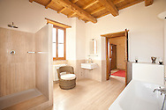 Villa San Donato in Italy, on the border between Tuscany and Lazio. The master bathroom.