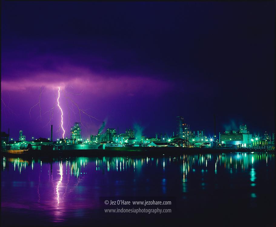 Lightning strikes Sungai Gerong oil refinery, Palembang, South Sumatra, Indonesia.