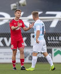 Mathias Gertsen (FC Fredericia) og Jeppe Kjær (FC Helsingør) under kampen i 1. Division mellem FC Fredericia og FC Helsingør den 4. oktober 2020 på Monjasa Park i Fredericia (Foto: Claus Birch).