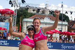 Dalida Vernier of Croatia and Kelly Claes of USA at Beach Volleyball Challenge Ljubljana 2014, on August 2, 2014 in Kongresni trg, Ljubljana, Slovenia. Photo by Matic Klansek Velej / Sportida.com