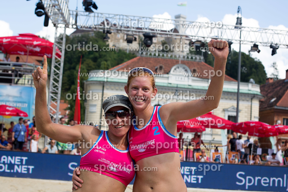 Dalida Vernier of Croatia and Kelly Claes of USA at Beach Volleyball Challenge Ljubljana 2014, on August 2, 2014 in Kongresni trg, Ljubljana, Slovenia. Photo by Matic Klansek Velej / Sportida.com