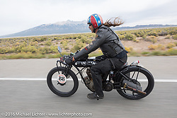 Doug Wothke of Alabama, an experienced long distance rider who has ridden a 1948 Indian Chief around the world as well as a 1962 Panhead chopper around the world, here riding his 1916 Indian during the Motorcycle Cannonball Race of the Century. Stage-10 ride from Pueblo, CO to Durango, CO. USA. Tuesday September 20, 2016. Photography ©2016 Michael Lichter.