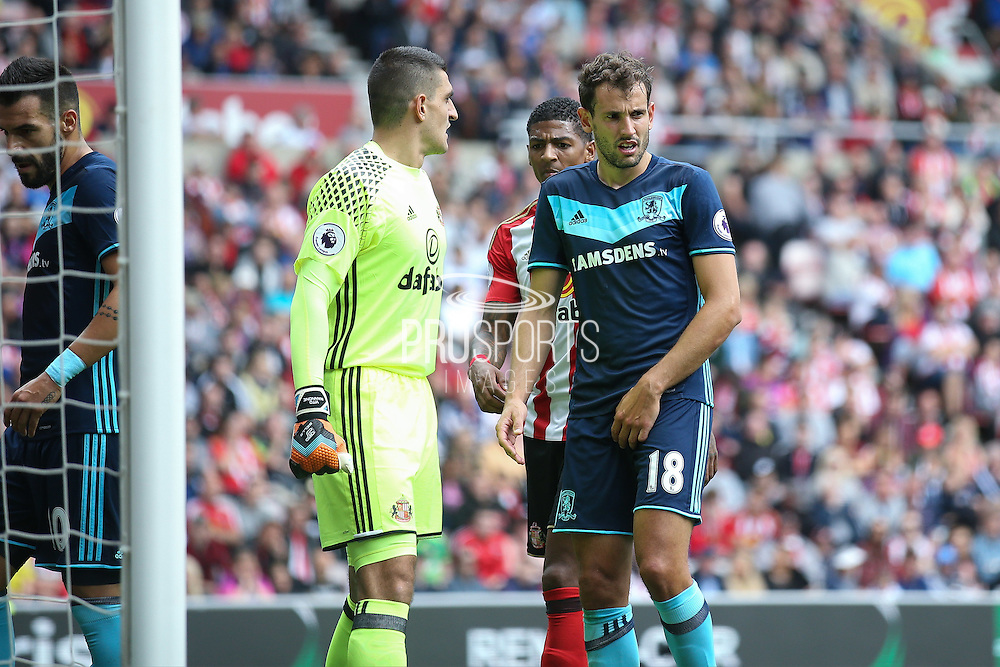 Middlesbrough forward Christian Stuani (18)  waits for the corner during the Premier League match between Sunderland and Middlesbrough at the Stadium Of Light, Sunderland, England on 21 August 2016. Photo by Simon Davies.