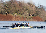 Mortlake, Greater London. 11th December 2019, Oxford Men's University Trial Eights, named, Burley, return to Putney after the trial ,Championship Course, Putney to Mortlake, River Thames, [Mandatary Credit: Peter SPURRIER/Intersport Images],<br /> <br /> Burley: Cox: Olly Perry, Stroke: Felix Drinkall, <br /> 7: Charles Pearson, 6: Leo von Malaise, <br /> 5: Charles Buchanan, 4: Joe White<br />  3: Achim Harzheim, 2: Alex Wythe, <br /> Bow: Jack Kelly,