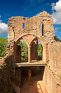 The 12th century medieval Norman ruins of Goodrich Castle, Goodrich, Herefordshire, England Goodrich Castle was probably built by Godric of Mappestone after the Norman invasion of England, initially as an earth and wooden fortification. In the middle of the 12th century the original Goodrich Castle was replaced with a stone keep, and was then expanded significantly during the late 13th century into a concentric structure combining luxurious living quarters with extensive defences. The success of Goodrich Castle's design influenced many other constructions across England over the following years.<br /> <br /> Visit our MEDIEVAL PHOTO COLLECTIONS for more   photos  to download or buy as prints https://funkystock.photoshelter.com/gallery-collection/Medieval-Middle-Ages-Historic-Places-Arcaeological-Sites-Pictures-Images-of/C0000B5ZA54_WD0s