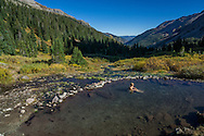 The Conundrum Hot Springs in the Maroon Bells-Snowmass Wilderness near Aspen, Colorado.