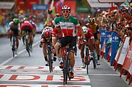Arrival, Elia Viviani (ITA - QuickStep - Floors) winner, Giacomo Nizzolo (ITA - Trek - Segafredo) , during the UCI World Tour, Tour of Spain (Vuelta) 2018, Stage 3, Mijas - Alhaurin de la Torre 178,2 km in Spain, on August 27th, 2018 - Photo Luca Bettini / BettiniPhoto / ProSportsImages / DPPI