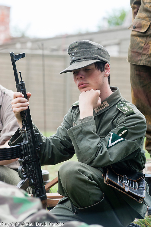Reenactor of the NWW2A Portraying a Panzer Grenadier of the Großdeutschland during a battle reenactment at Fort Paull on Sunday ..5 May 2013.Image © Paul David Drabble