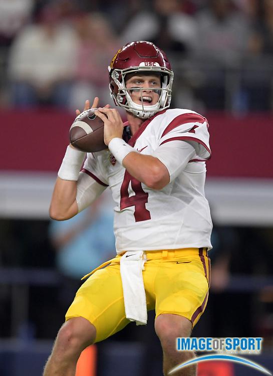 Sep 3, 2016; Arlington, TX, USA; USC Trojans quarterback Max Browne (4) throws a pass against the Alabama Crimson Tide during a NCAA football game at AT&T Stadium. Alabama defeated USC 52-6.