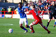 Portsmouth forward Jamal Lowe (10) in action during the EFL Sky Bet League 1 match between Accrington Stanley and Portsmouth at the Fraser Eagle Stadium, Accrington, England on 27 October 2018.