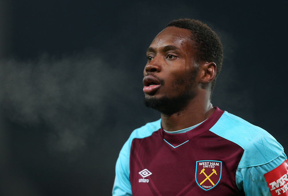 West Ham United's Diafra Sakho<br /> <br /> Photographer Rob Newell/CameraSport<br /> <br /> The Premier League - Stoke City v West Ham United - Saturday 16th December 2017 - Britannia Stadium - Stoke-on-Trent <br /> <br /> World Copyright © 2017 CameraSport. All rights reserved. 43 Linden Ave. Countesthorpe. Leicester. England. LE8 5PG - Tel: +44 (0) 116 277 4147 - admin@camerasport.com - www.camerasport.com