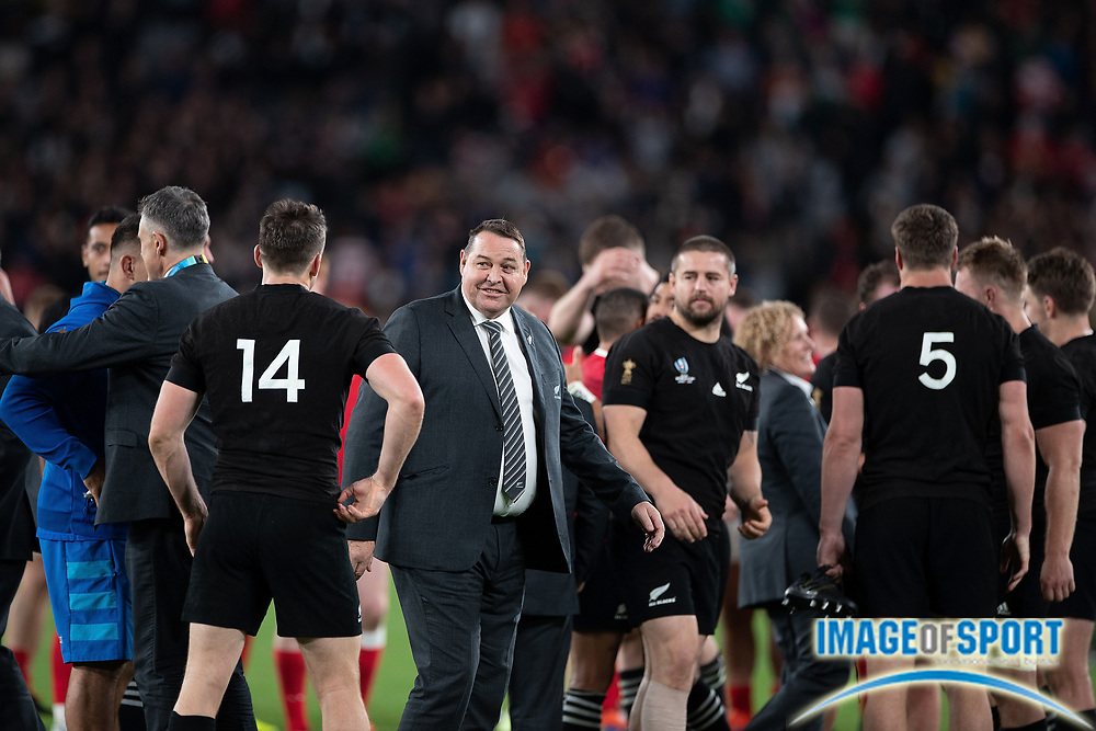 Steve Hansen, coach of New Zealand celebrates the victory with his team during the Rugby World Cup bronze final match between New Zealand and Wales Friday, Nov, 1, 2019, in Tokyo. New Zealand defeated Wales 40-17.  (Flor Tan Jun/Espa-Images-Image of Sport)