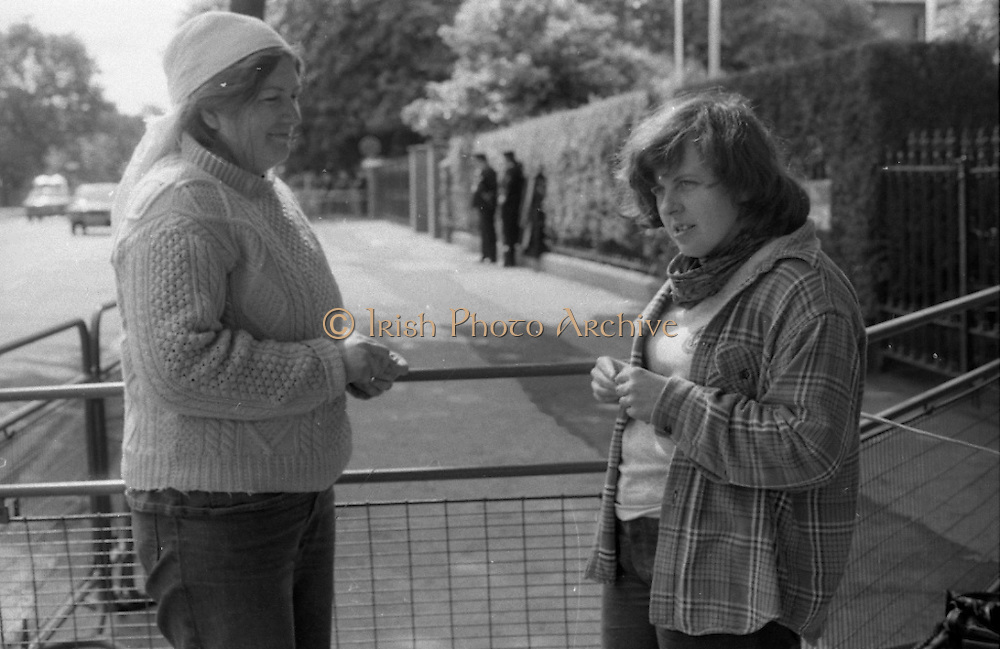 H-Block Protest To British Embassy.  (N86)..1981..18.07.1981..07.18.1981..18th July 1981..A protest march to demonstrate against the H-Blocks in Northern Ireland was held today in Dublin. After the death of several hunger strikers in the H-Blocks feelings were running very high. The protest march was to proceed to the British Embassy in Ballsbridge...Image shows Bernadette McAlliskey and another protestor stand by their makeshift tent in Ballsbridge.